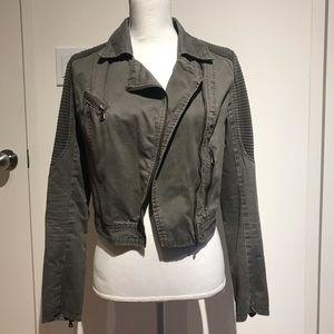 Moto khaki jacket with front zipper